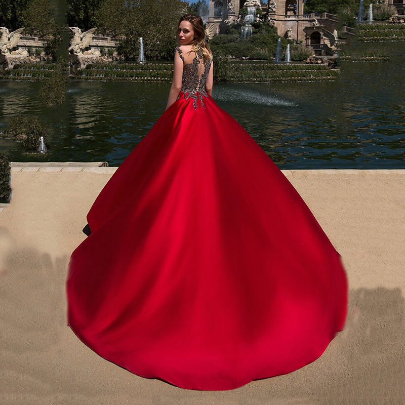 V-neck Red Long Evening Dress Lace Beaded Vintage Prom Gowns 2019 Corset Satin Ball Gown Evening Gowns Elegant Vestido De Festa