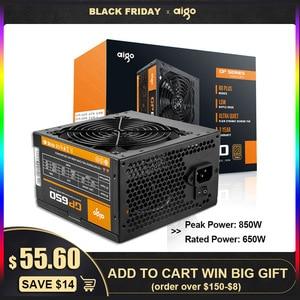 Image 1 - Aigo PC 전원 공급 장치 650W 80PLUS PSU 인증 전원 공급 장치 PC 게임 최대 850W 컴퓨터 12V 120mm 냉각 팬