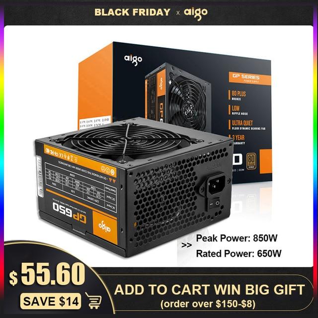 Aigo PC 전원 공급 장치 650W 80PLUS PSU 인증 전원 공급 장치 PC 게임 최대 850W 컴퓨터 12V 120mm 냉각 팬