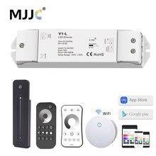 Interruptor regulador led V1-L, regulação regulável 12v 24v 1ch 15a pwm 0-100% wifi rf 2.4g luz controle remoto sem fio da tira do diodo emissor de luz