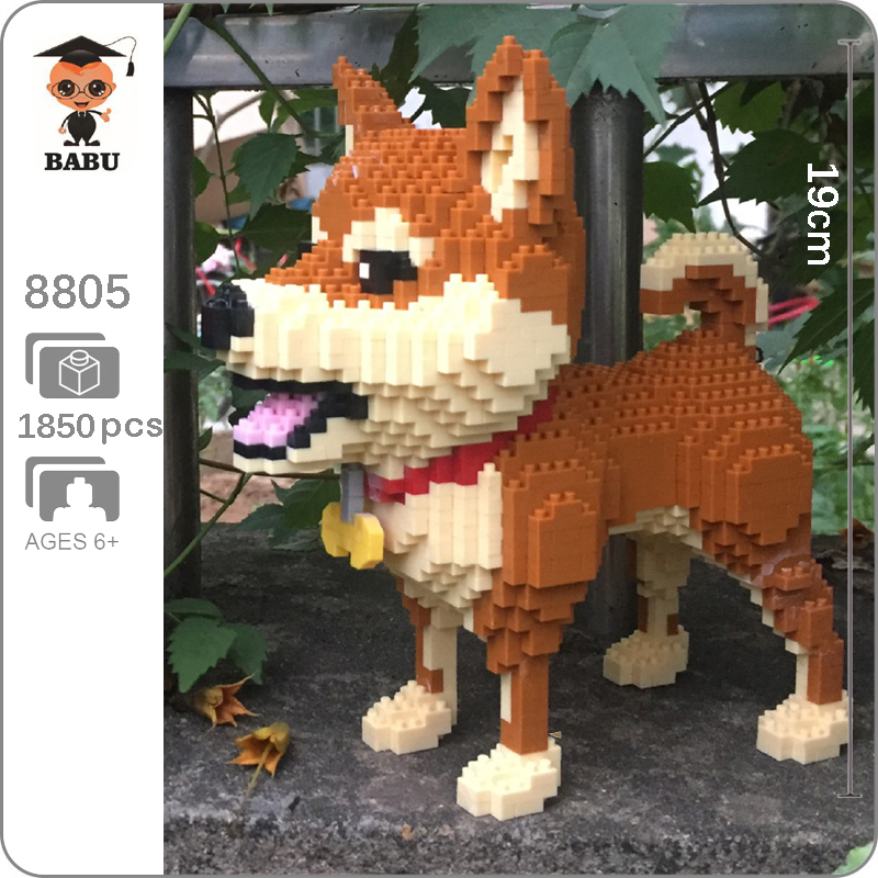 Babu 8805 Shiba Breed Pet Dog Brown Animal 3D Model 1850pcs DIY Diamond Mini Building Small Blocks Brick Toy For Children No Box