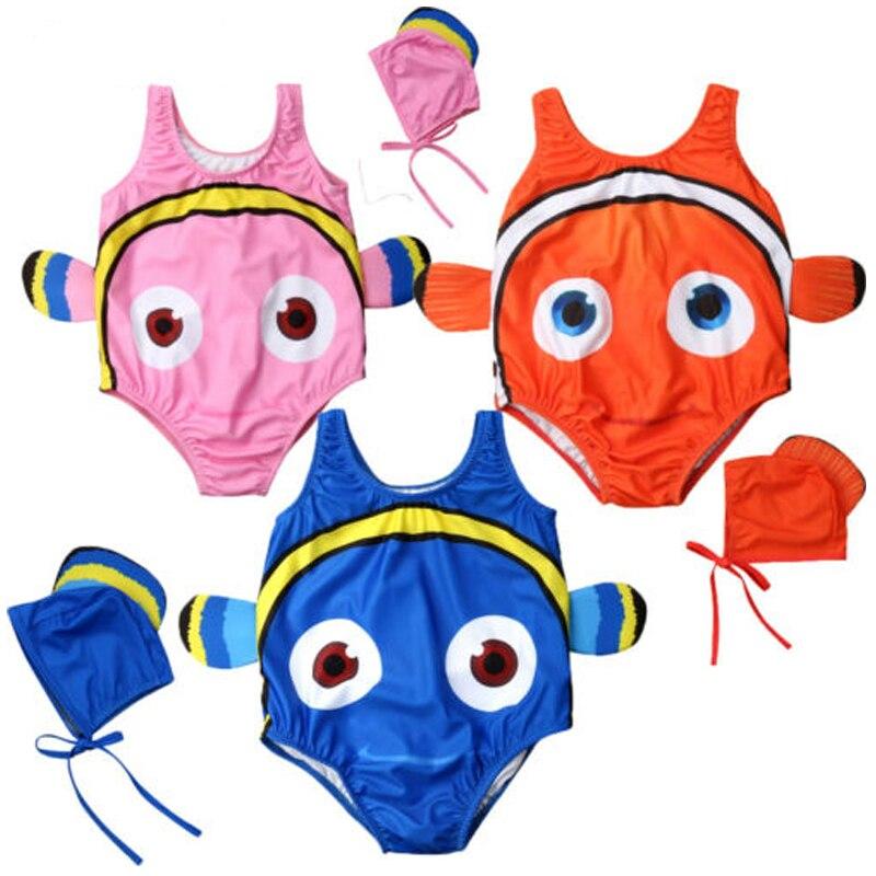 HOT Kids Baby Girl Goldfish Swimwear Bikini Toddler Swimsuit Costume+Swimming Cap Cute 3D Cartoon 2Pcs Outfits 1-5T