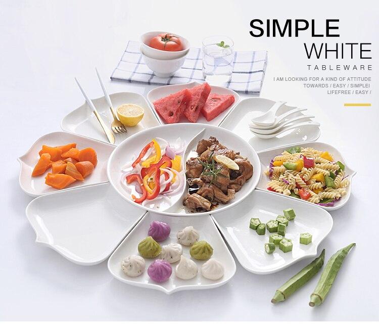 Ensembles de plats et d'assiettes en porcelaine | Vaisselle de cuisine, bol à dîner céramique porcelaine chinoise