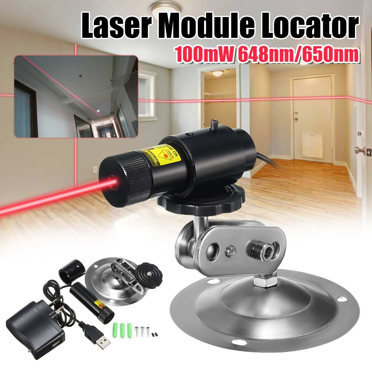 650nm 100mW Red Laser Line Module Locator For Cutting Machine + Adapter & Mount  Industrial Woodworking Stone