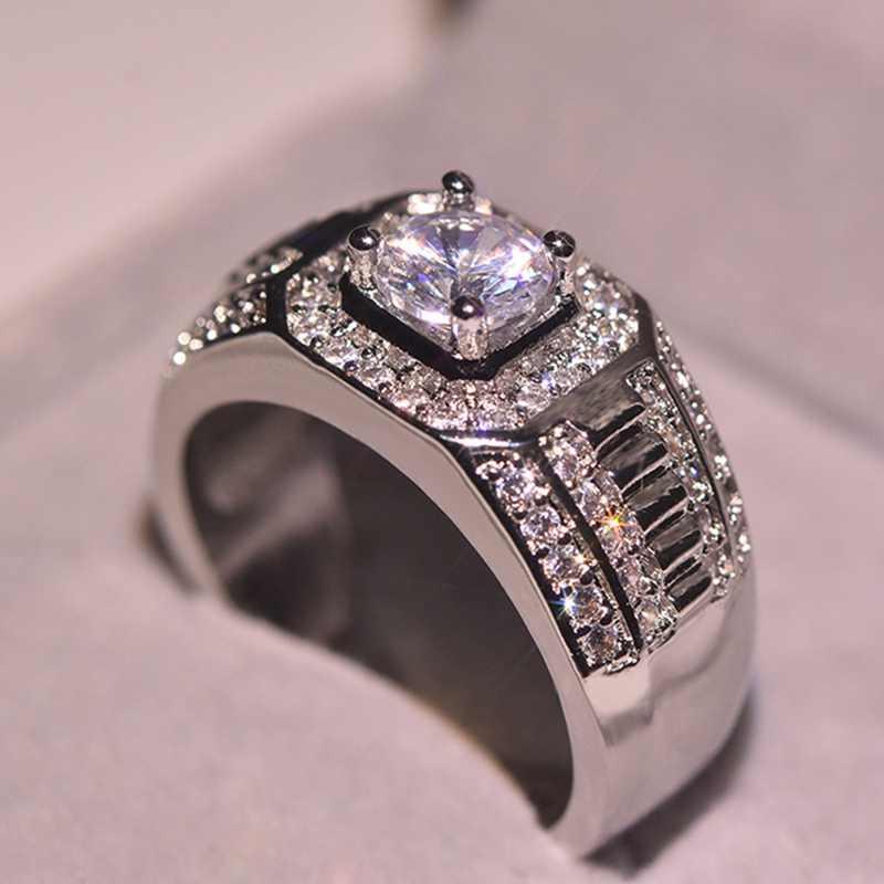 แฟลชสีขาวทองสี Zircon Luxury Hive แหวน Trendy Man เพชรอัญมณีแหวนของขวัญเครื่องประดับ