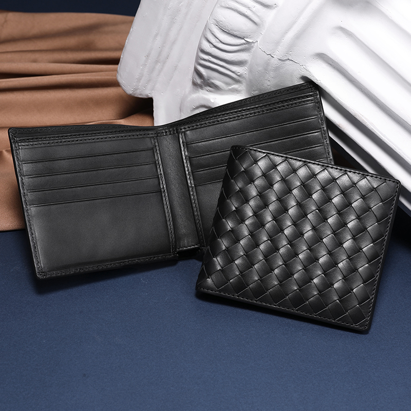 Men Wallets 100% Leather Top Baby Cow Leather Short money clip Fashion Woven Luxury Brand Wallet Simple Business 2020 New Spot|Wallets| - AliExpress