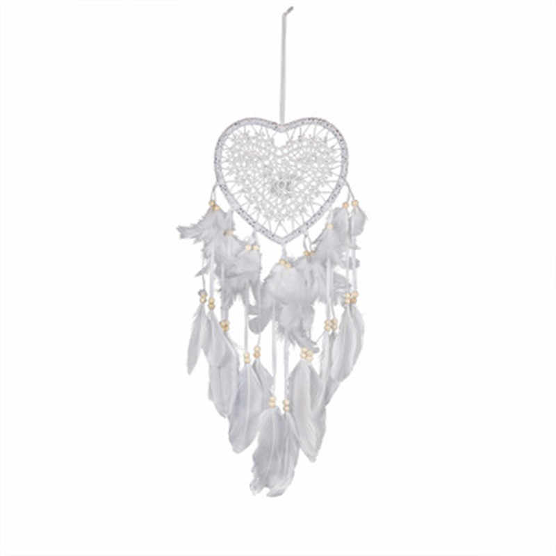 home girls room craft dream catcher wind chimes art Handmade lace dream catcher feather bead hanging decoration