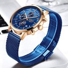 New Mens Watches LIGE Top Brand Luxury Fashion Ultra Thin Quartz Watch Men Mesh Steel Business Clock Calendar Waterproof Relojes