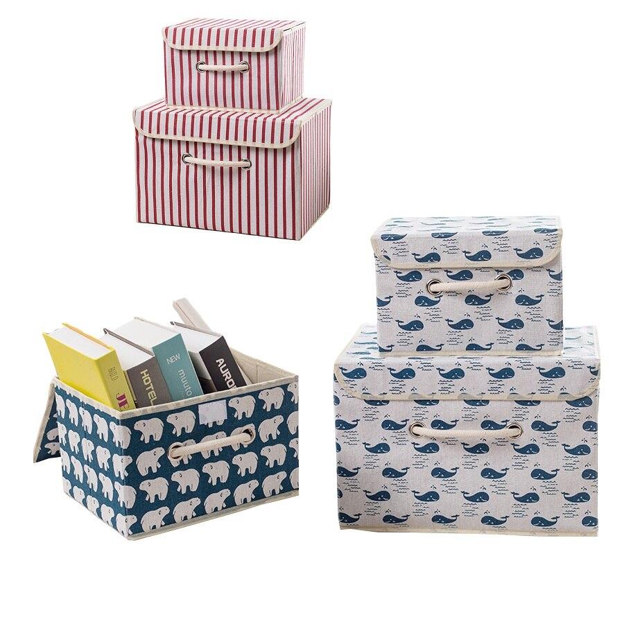 New Cube Fabrics Cotton Linen Folding  Storage Box Clothes Storage Bins For Kids Toys Organizer 3 Size 6 Color Animal Pattern