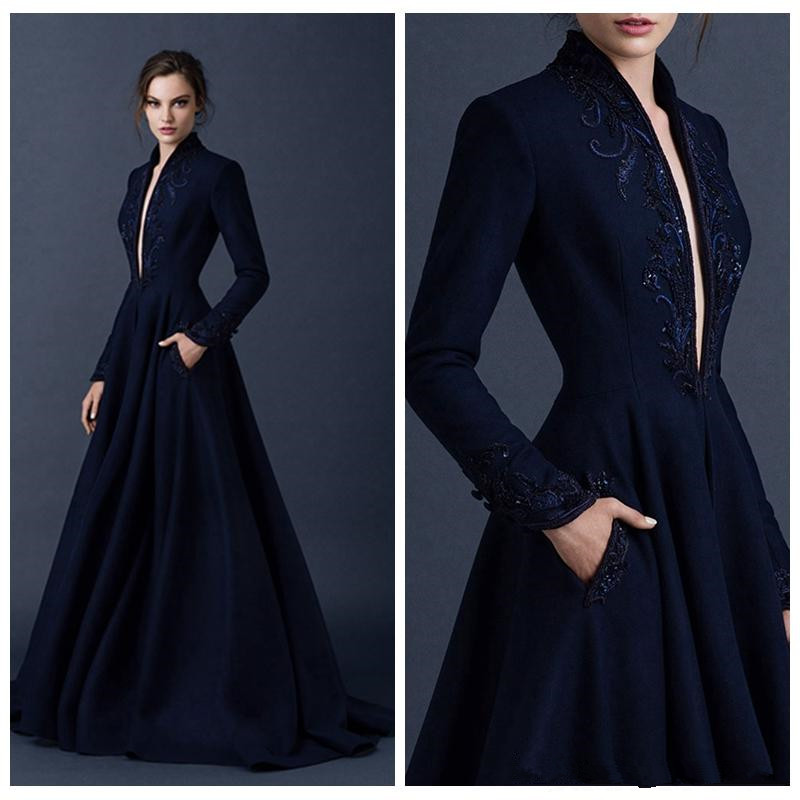 Vestido De Festa 2018 New Deep V-neck Prom Party Evening Gown Floor-length Long Sleeve Embroidery Mother Of The Bride Dresses