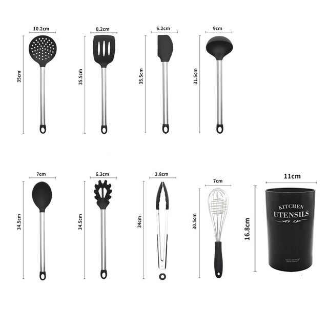 8-pcs aço inoxidável lidar com + silicone cozinha conjunto utensílios de cozinha para cozinha em casa kit ferramentas não vara espátula conjunto aparelhos