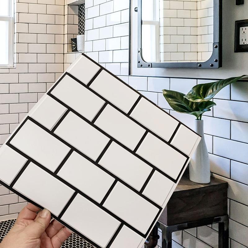 kitchen bathroom 3d waterproof self adhesive mosaic wall decal cabinet sticker peel stick backsplash vinyl tiles 3d wall panel