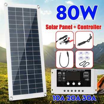 80W zestaw paneli słonecznych kompletny podwójny USB 12V z 10 20 30A kontroler wodoodporna ogniwa słoneczne do samochodu Yacht RV baterii ładowarka tanie i dobre opinie CLAITE CN (pochodzenie) NONE Panel słoneczny 8x17inch Monokryształów krzemu Solar Panel With Controller outdoor camping hiking boat Travel