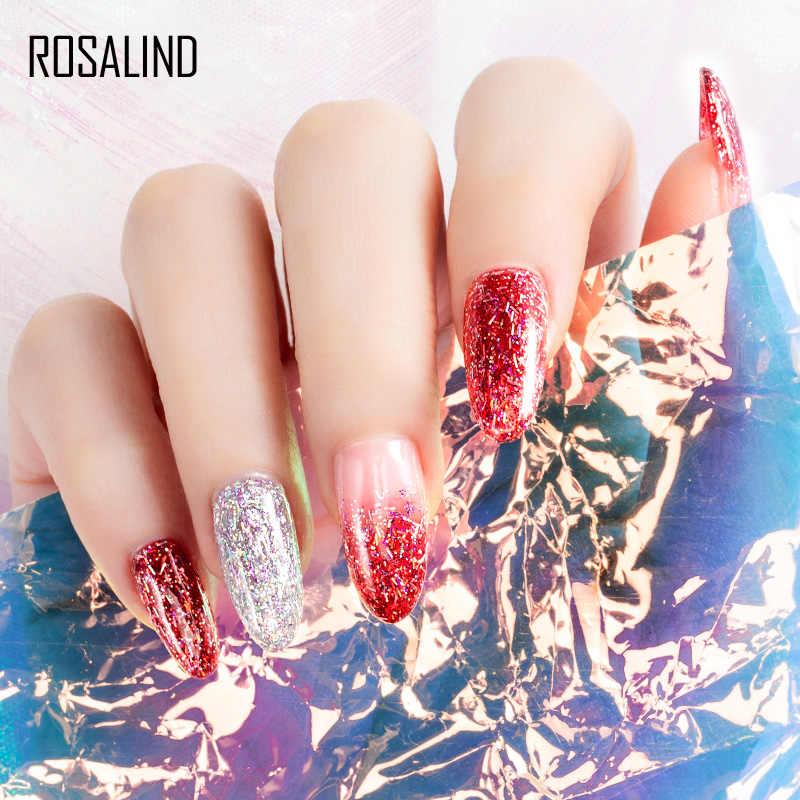 ROSALIND 5ML SHINY Silk GEL เล็บ Polish Bright สำหรับ Glitter Nail Art Design Need UV โคมไฟฐานด้านบน primer สำหรับเล็บ