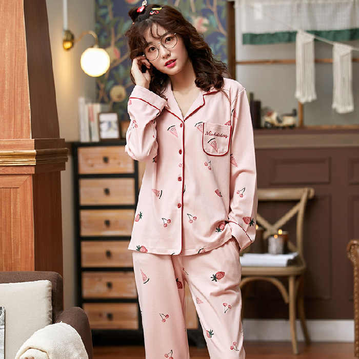 Women/'s Nightwear Pajamas Sets For Winter Autumn Sleepwear Cotton Polyester New