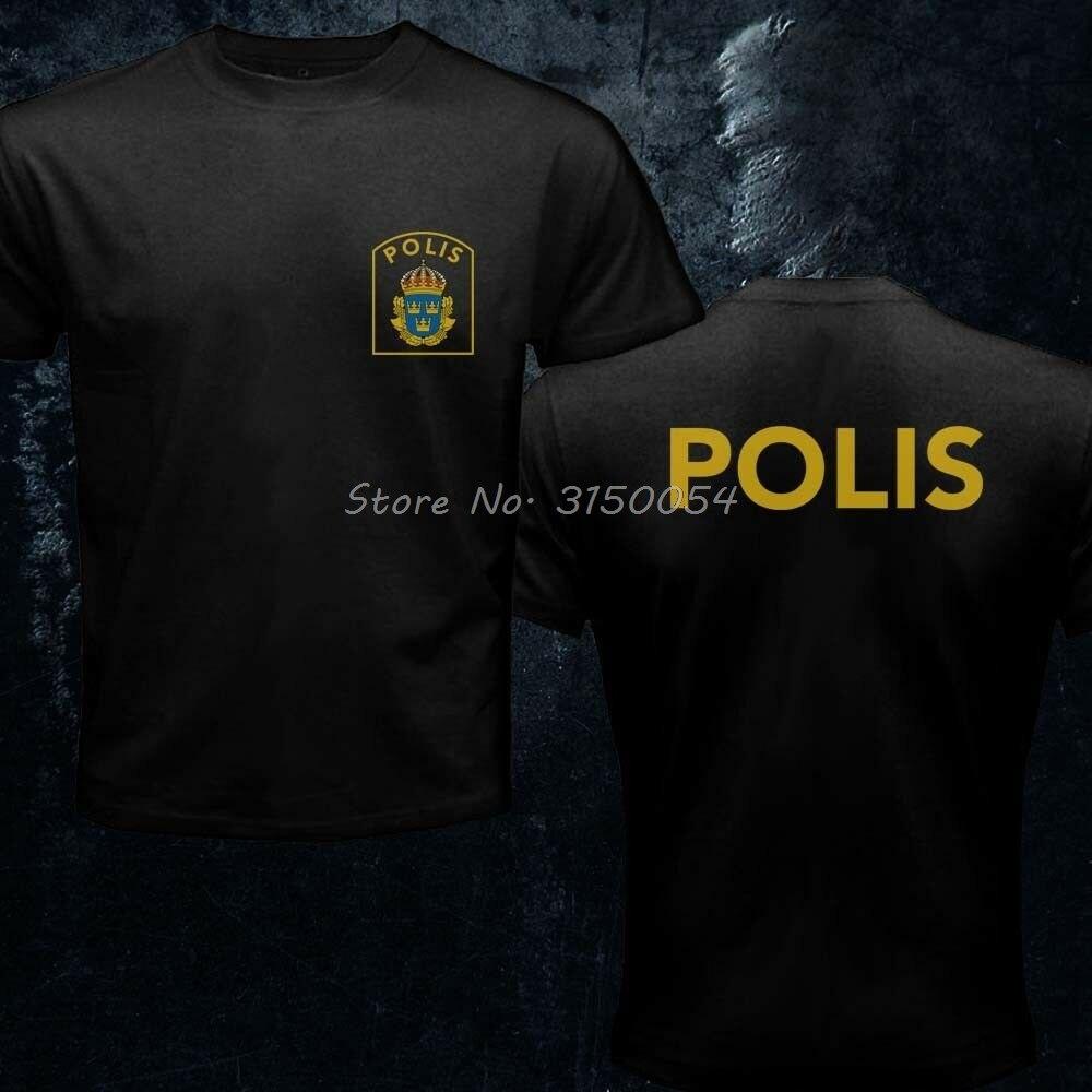 Skandinavien Schweden Svensk Schwedisch Polisen Polis Polizei Einheit Logo T-shirt Neue Baumwolle Cooles Design 3D T-shirt Ausgestattet T Hemd Tees