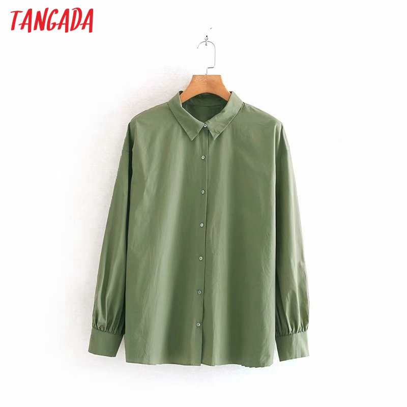 Tangada Women Oversized Green Blouse Back Pleated 2019 Autumn Winter Vintage Long Sleeve Casual Shirts Chic Tops 4M100