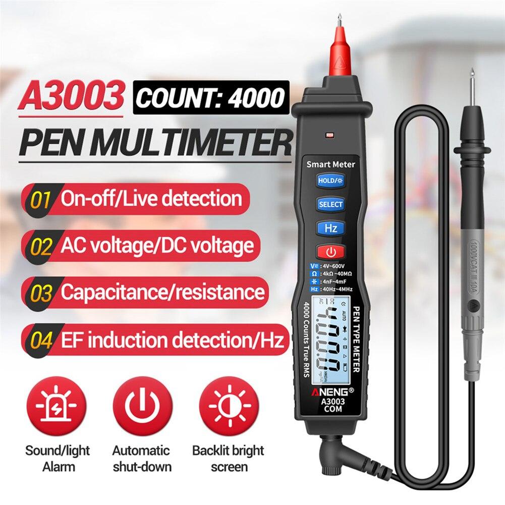 ANENG A3003 цифровая ручка Профессиональный мультиметр 4000 отсчетов умный счетчик со бесконтактная проверка напряжения переменного тока/постоя...