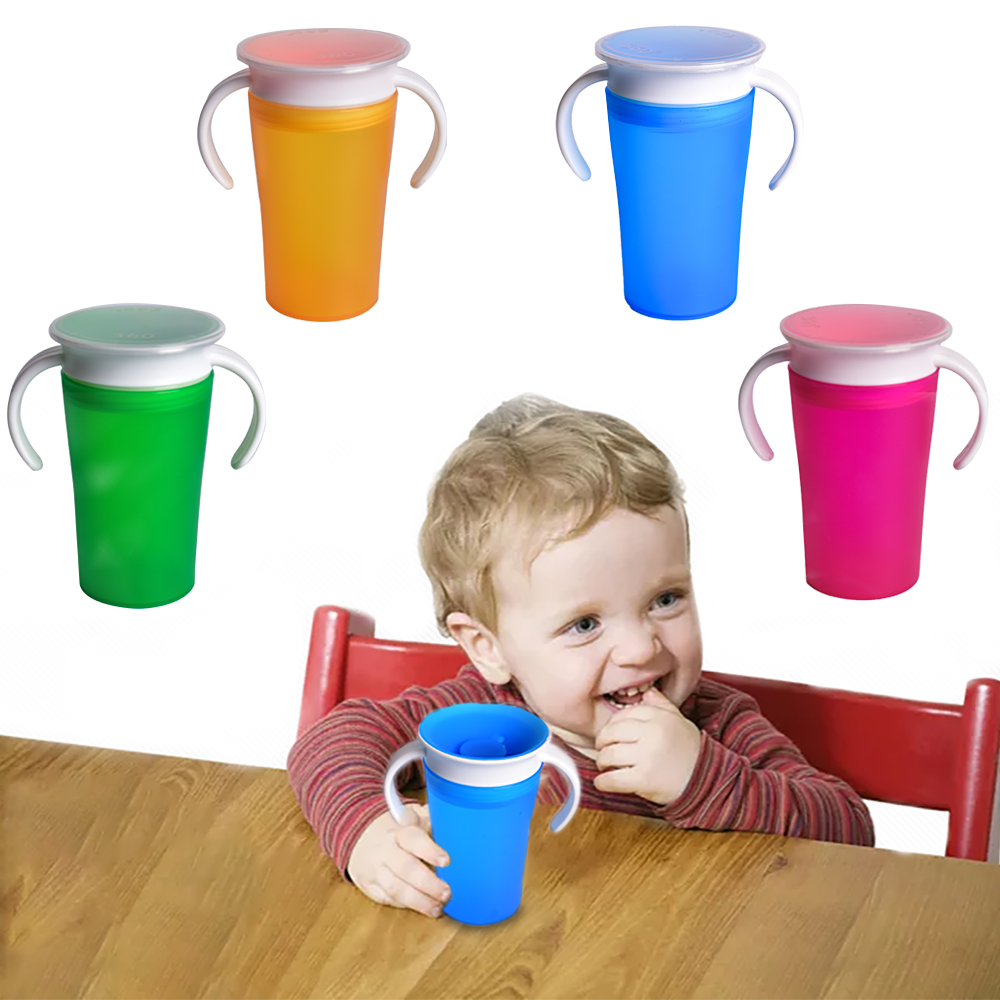 1PC 360 Baby Cups Can Be Rotated Magic Cup Baby Learning Drinking Cup LeakProof Child Water Cup Bottle 260ML Copos