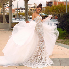 Liyuke Scoop Neckline Of 2 In 1 Mermaid Wedding Dress Delicate Lace With Detachable Tulle Skirt Of Bridal Dress