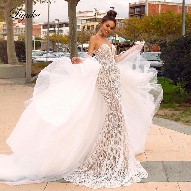Liyuke Scoop dekolt 2 w 1 suknia ślubna syrenka delikatna koronka z odpinaną spódnica z tiulu suknia ślubna
