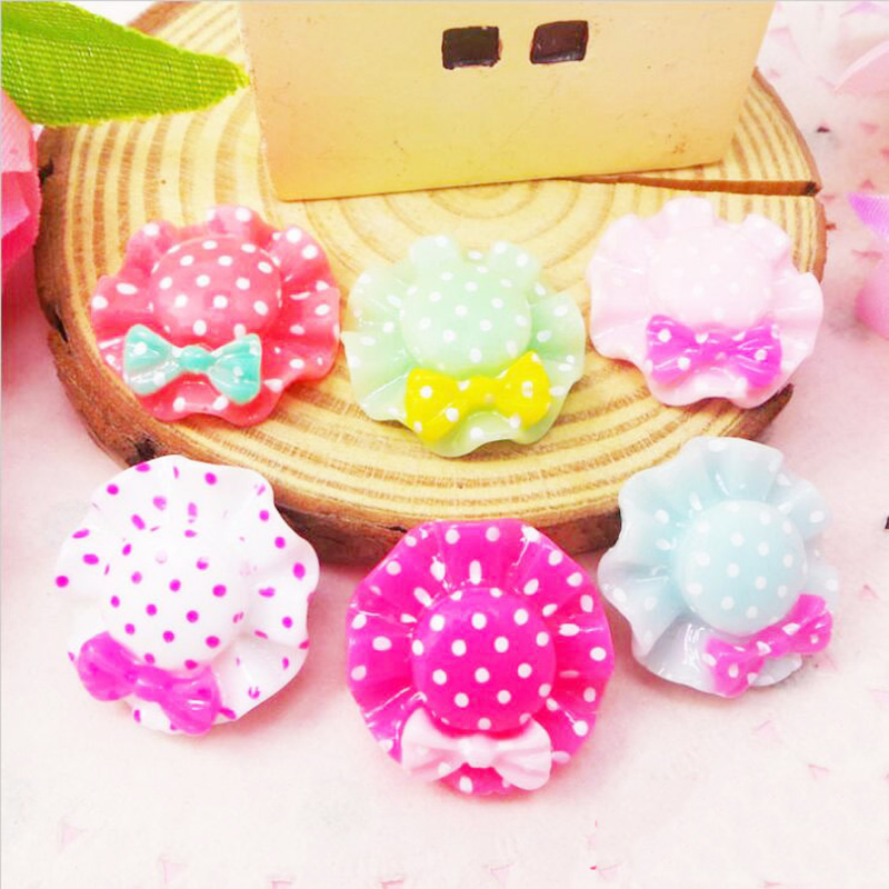 100Pcs/Lot Resin Bow Cartoon Hat Decoration Crafts Flatback Cabochon Scrapbooking Fit Phone Embellishments Diy Accessories