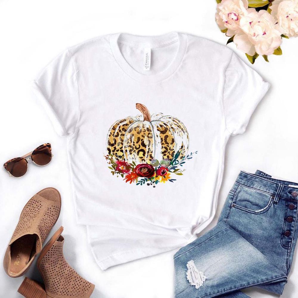 Leopard Pumpkin Print Women Tshirt Cotton Casual Funny T Shirt Gift For Lady Yong Girl Top Tee Drop Ship PM-2