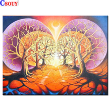 Tree 5D Diy Diamond Painting Landscape Diamond Mosaic Drawing Full Square Round Drill Diamond Embroidery Cross Stitch Home Decor momoart diamond embroidery tree diamond mosaic landscape diy diamond painting full drill square rhinestone wall decoration