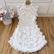 Baogarret New 2019 Summer Designer Women 100% Linen Beads Vestidos Sleeveless Ruffles Robe Femme White Black Party Dresses