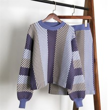 Fashion Women Striped Pullovers Sweater Skirt Sets Knitted Suits Female Casual Two Piece Outfits