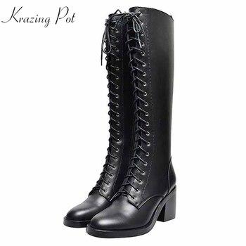 Botas de montar hasta la rodilla estilo preppy de gladiador marca krazing pot de cuero de vaca punta redonda encaje hasta la rodilla informal grueso alto mantener caliente l93