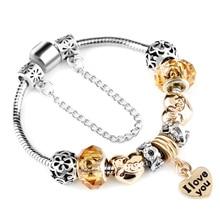 Infinite Love Charm Bracelet With Gold Color I LOVE YOU Pendant Fit Original Brand Bracelet For Women Lovers Best Jewelry Gift цены онлайн