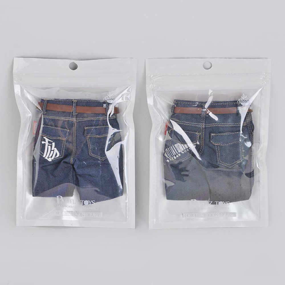 1/6 Schaal Mannelijke Action Figure Hip Hop Fashion Print Jeans Broek Mannelijke Klassieke Denim Jeans Broek Met Riem 12 ''Gespierd Lichaam