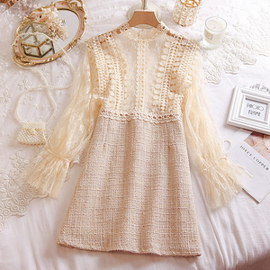 Image 5 - Young Gee Elegant Embroidery Party Dresses Spring Autumn Flare Sleeve Lace Floral Tweed Patchwork Office Lady Mini Dresses robe