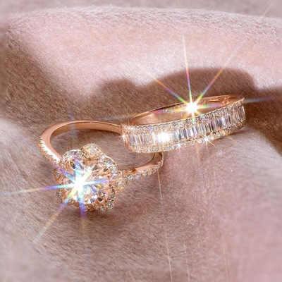 2 шт кольцо/Набор Розовое золото заполненный Белый Кристалл Циркон Обручальное кольцо Размер 6-10 рождественские подарки