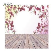 цена на Laeacco Pink Flowers Wall Wooden Boards Portrait Birthday Backgrounds Photography Customizable Backdrops Props For Photo Studio