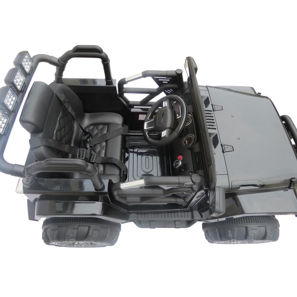 RC Jeep Ride On Wrangler 12 V Kids Music Remote Control LED Lights Black New