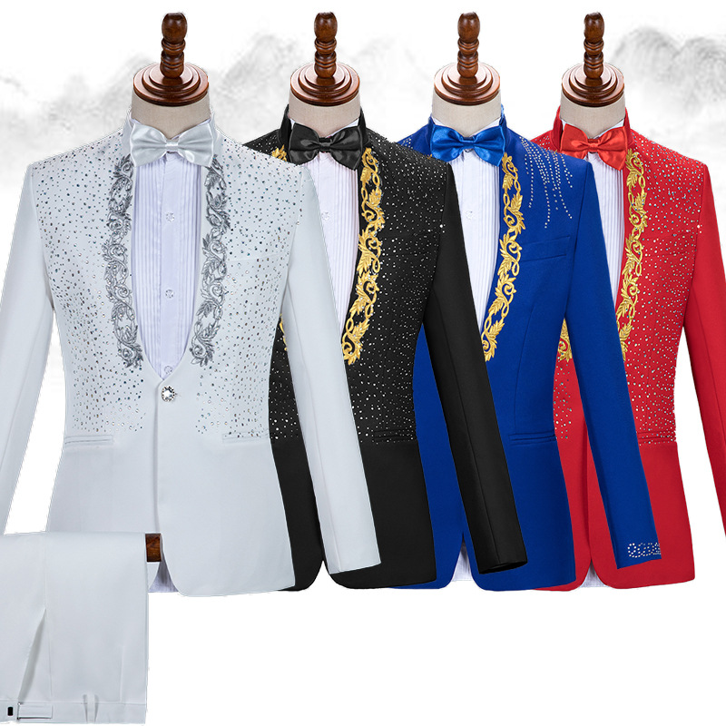 Mens Stand Wedding Tuxedo White Embroidery Costume Homme With Crystals Men Mariage Suit Suits Pants Groom Stage Collar Sparkly