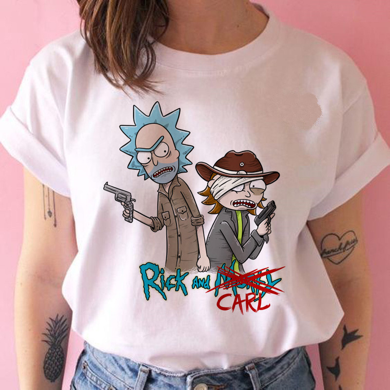 Harajuku Cartoon Tshirt Print Ulzzang Graphic T-shirt Female Clothes Rick And Morty Women T Shirt Pickel Funny New Fashion