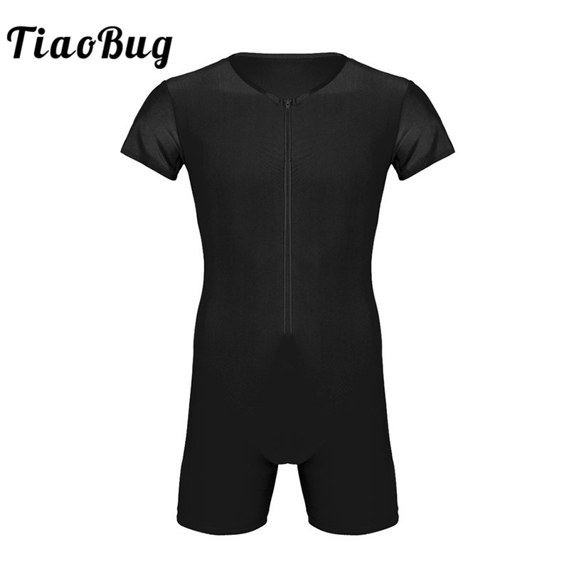 TiaoBug Short Sleeve Front Zipper One-piece Gymnastics Sports Soft Boxer Leotard Men Bodysuit Jumpsuit Gym Unitards Dance Wear