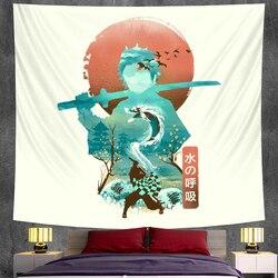 Короткая футболка с героями из японского аниме «украшения гобелен настенный украшения богемный Декор хиппи Фэнтези сцена Коврик для йоги х...
