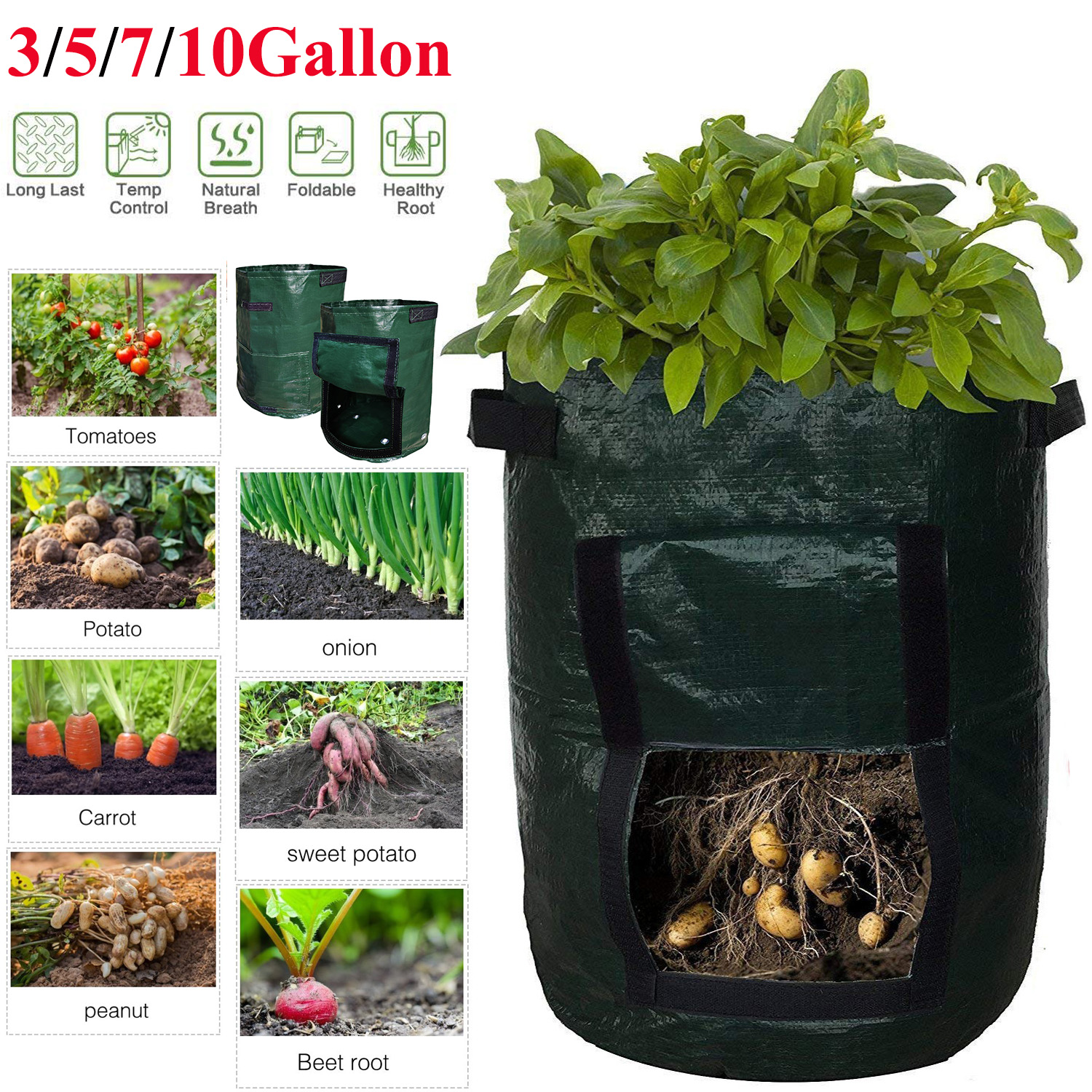 Plant Grow Bag Potato Grow Container Bag Vegetable Gardening Thicken Pot Planting Grow Bag Garden Tool D30
