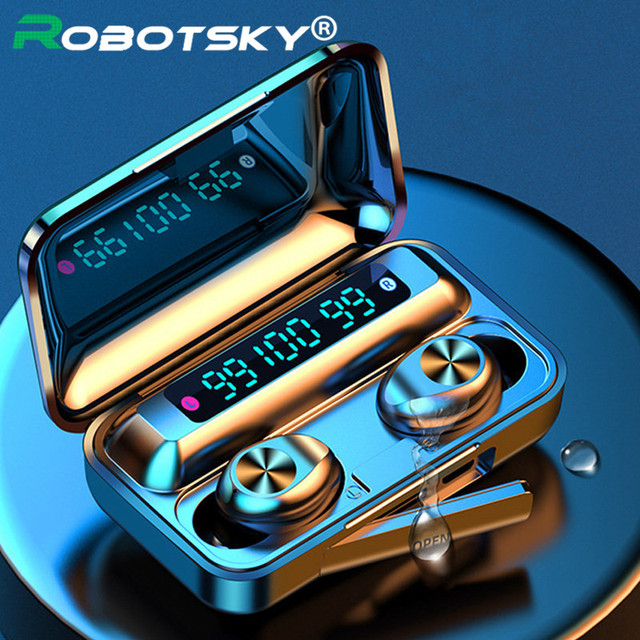 True Wireless Bluetooth 5.0 Earphone F9 TWS High Fidelity Stereo Sound Headset Sport Running Haedphones With Charging Box