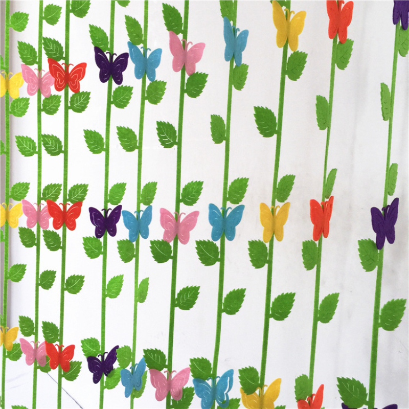 5pcs Colorful Felt Cutting Butterfly Wicker Leaves Nonwoven Cloth Fabric Felts Home Child Room Kindergarten Wall Decor Stickers