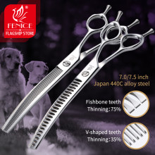 Fenice 7.0/7.5 inch Professional Dog Grooming Shears Curved Thinning Scissors for Dog Face Body Cutiing JP 440C High Quality