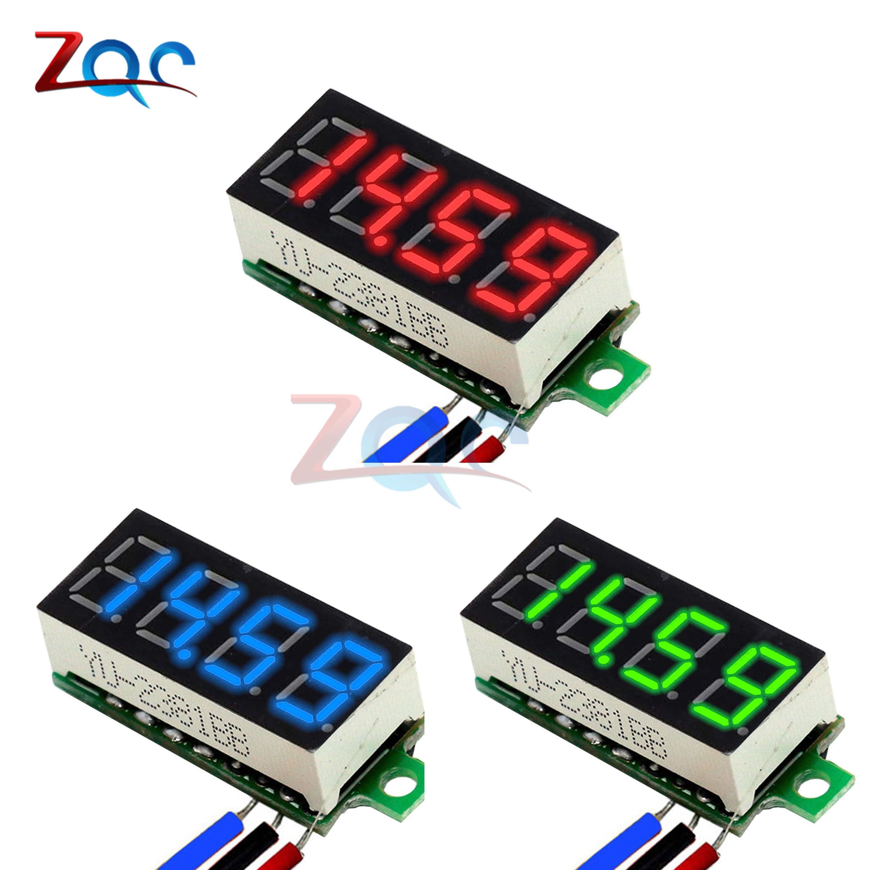 4 Bit 0.36 Inch Mini Digital Voltmeter 0-100V DC Volt Voltage Meter LED Panel Electric Voltage Tester Gauge 3 Wires 12V 24V 48V