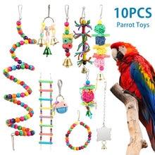 10 packs pássaro balanço mascar brinquedos papagaio rede sino brinquedos papagaio gaiola brinquedo pássaro poleiro com contas de madeira pendurado para pequenos periquitos