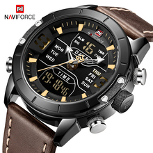 NAVIFORCE Men Watches Top Brand Luxury Wristwatch Man Military Quartz Digital Led Clock Genuine Leather Watch Relogio Masculino 2018 naviforce luxury brand men analog led watches man leather quartz clock men s military sports wrist watch relogio masculino