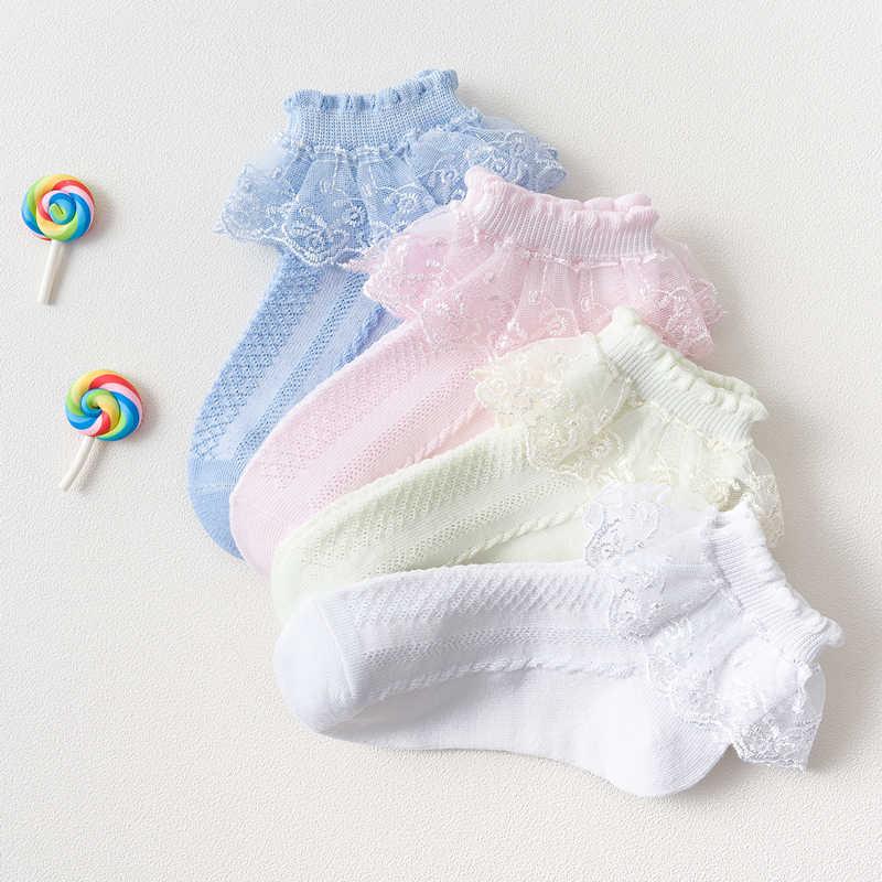 קיץ אופנה ילדי גרבי תינוקת לפרוע גרב חמוד תינוק מצויץ לדדות מעצב לבן ורוד תחרה ילד כותנה גרבי עבור בנות