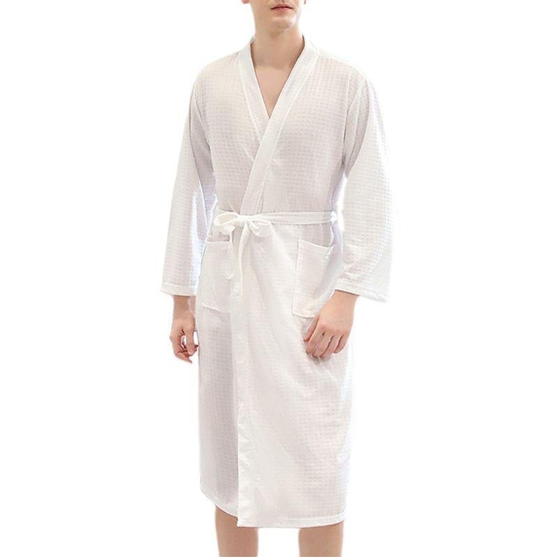 Womens MENS Cotton Night Robe Sleepwear Waffle Bathrobe Spa Shower Robe Loose